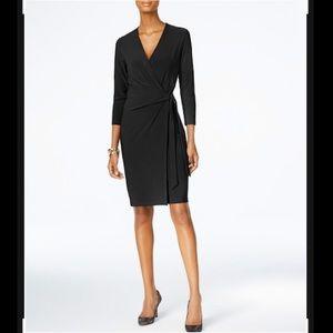 Dressbarn | Size: 10 | Faux-Wrap Black Midi Dress